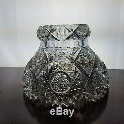 AMERICAN BRILLIANT Cut Glass 2PC PUNCH BOWL Pedestal Bowl 10 T x 12 W