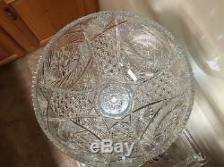 AMERICAN BRILLIANT PERIOD 2 Pc (ABP) CUT GLASS PUNCH BOWL & STAND, c. 1880-1900