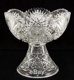 AMERICAN BRILLIANT Punch Bowl & Pedestal EGGNOG Deep Cut Crystal Glass Antique