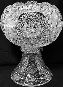 ANTIQUE ABP SUPERIOR 14 WIDE 33 Lb 3/4 THICK ELMIRA HOARE CUT GLASS PUNCH BOWL