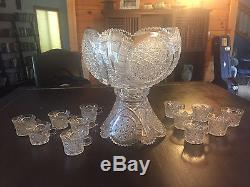 Antique American Brilliant Period Large Cut Glass Punch Bowl Set