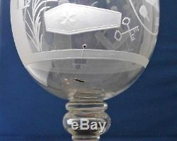 ANTIQUE EARLY 19th CENTURY VERY LARGE SYMBOLIC MASONIC PUNCH GLASS GOBLET BOWL
