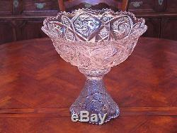 Antique Imperial Pressed Glass Punchbowl Set Bowl, Stand, 12 Cups