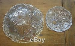 ANTIQUE Punch Bowl Set Hobstar Flower & Arches Imperial Glass Bowl & Stand