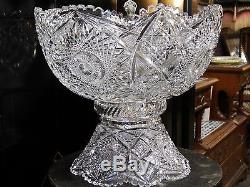 ANTIQUE VICTORIAN OLD ABP HUGE 14'' CUT GLASS TWO PIECE PUNCH BOWL