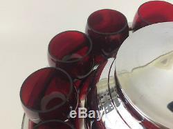 ART DECO Lehman Bros. Chrome & ruby glass punch set, SATURN bakelite 1930s