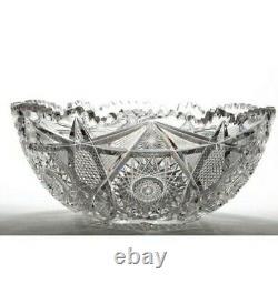 Abp American Brilliant Argo Princeton Punch Bowl Empire Cut Glass