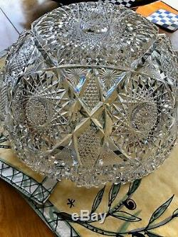 Abp American Brilliant Argo Punch Bowl Empire Cut Glass Stunning Huge