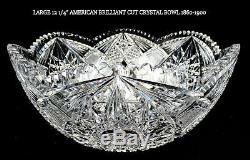 Abp American Brilliant Cut Crystal Hobstar Fan Arches Large 12 Punch Bowl 1860