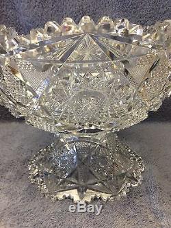 Abp American Brilliant Cut Glass 12 1/4 Punch Bowl On Pedestal 14.8 Lbs