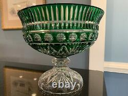 Ajka Design Guild Crystal Cut To Clear Emerald Green Glass Punch Bowl Stunning