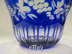 Ajka Hungary Cobalt Blue Cut-to-clear Crystal Punch Bowl & Eight Cups