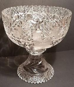 Am Brilliant cut glass large punch bowl or centerpiece bowl with cut glass base