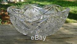 Amazing Antique Abp Cut Glass Punch Bowl! 14.5in! Weighs 18lbs! Stunning