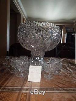Ameican Cut Crystal Punch Bowl With Cups