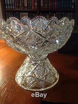 American Brilliant ABP Punch Bowl With silver plated Pairpoint Ladle