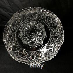 American Brilliant Cut Clear Glass 2Pc Punch Bowl Pedestal Base 10.5 Antique