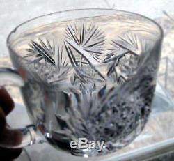 American Brilliant Cut Glass 14 1/2 Punch Bowl 9 Cups Daisy KOH-I-NOOR Glas Co