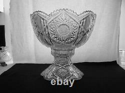 American Brilliant Cut Glass 14 Punch Bowl In Acme By J. Hoare Magnificent