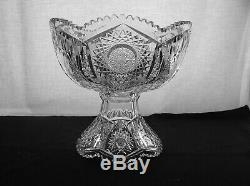 American Brilliant Cut Glass 2 Part Small Punch Bowl In Keystone By Fry