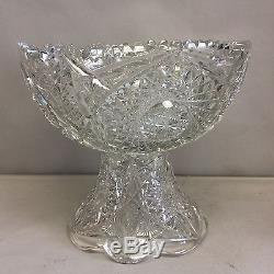 American Brilliant Cut Glass 2 Piece Punchbowl