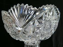 American Brilliant Cut Glass 2 part Punch Bowl