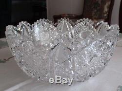 American Brilliant Cut Glass Center Bowl LARGE Fruit/Punch Bowl
