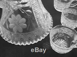 American Brilliant Cut Glass Complete 2 Part Punch Bowl Set With 12 Cups