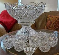 American Brilliant Cut Glass Hobstar Punch Bowl & 12 Cups