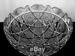 American Brilliant Cut Glass Large Stunning 14 Punch Bowl Virginia By Bergen