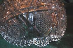 American Brilliant Cut Glass Libbey 14 Inch Punch Bowl Somerset- Antique Gla