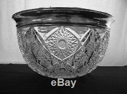 American Brilliant Cut Glass Massive Sterling Rim 15 Punch Bowl Monogrammed