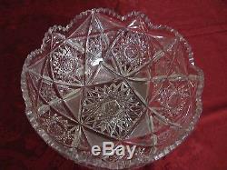 American Brilliant Cut Glass PUNCH BOWL Family Heirloom- Deep Cut