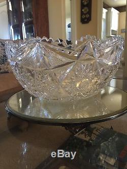 American Brilliant Cut Glass Punch Bowl Colonna Signed Libbey (1896 Signature)