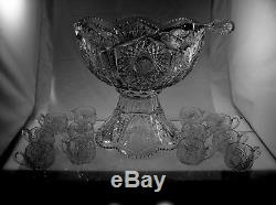 American Brilliant Cut Glass Punch Bowl In Keystone By Fry 12 Cups Ladle 14