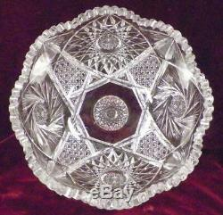 American Brilliant Cut Glass Punch Bowl & Stand Elmira Pattern #22 Whirling Star