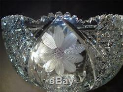 American Brilliant Cut Glass Punch Bowl Two Pieces Etched Flowers Leaves