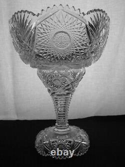American Brilliant Cut Glass Rare Combination 2 Part Punch Bowl Krantz Smith