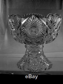 American Brilliant Cut Glass Shotton 2 Part Punch Bowl Heavy Ultra Deep Cutting