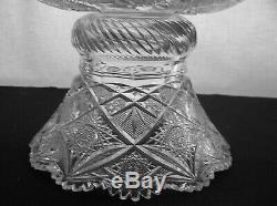 American Brilliant Cut Glass Stunning Elmira #100 2 Part Punch Bowl Antique