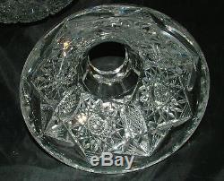 American Brilliant Deep Cut Glass 2 pc Pedestal Punch Bowl Signed Libbey