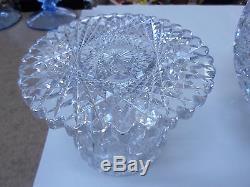 American Brilliant Deep Cut Glass Punch Bowl & Pedestal Stand 20 Pounds