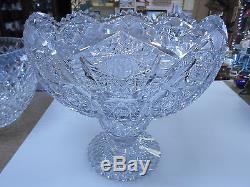 American Brilliant Deep Cut Glass Punch Bowl & Pedestal Stand RARE 20 Pounds