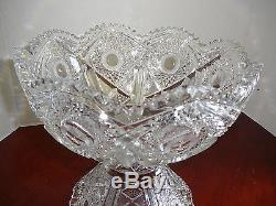 American Brilliant Deep Cut Glass Punch Bowl & Pedestal Vintage