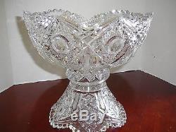 American Brilliant Deep Cut Glass Punch Bowl & Pedestal Vintage