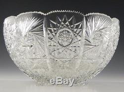 American Brilliant Heavy Deep Cut Crystal 13 CENTER BOWL PUNCH CENTERPIECE ABP