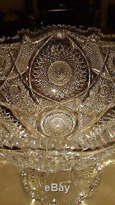 American Brilliant Period Cut Glass 16 Tall X 14 Circumference Punch Bowl