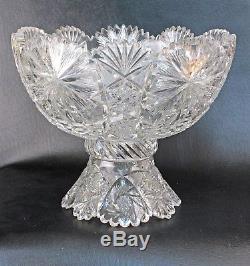 American Brilliant Period Cut Glass Punch Bowl Flashed Star, Fan & Honstar
