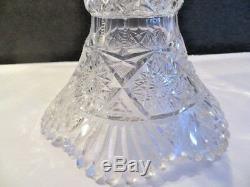 American Brilliant Period Hand Cut Crystal Glass 2pc Punch Bowl
