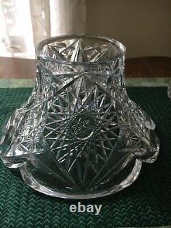 American Brilliant Period Heavy Crystal 12Punch Bowl Centerpiece With Pedestal